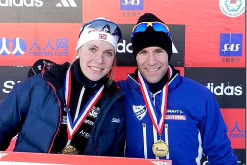Solveig Steinsland og Anders Högberg vant åpningsetappen av Tour de Ski China 2011/2012. Foto: NordicWays.