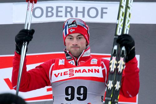 Petter Northug etter å ha vunnet prologen i Tour de Ski 2011/2012. Foto: Hemmersbach/NordicFocus.