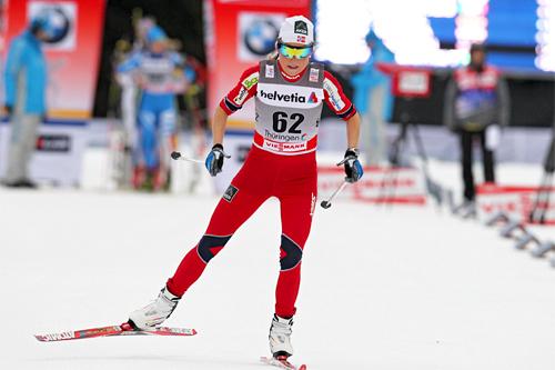 Marthe Kristoffersen på vei mot 5. plass på prologen i Oberhof i forbindelse med Tour de Ski 2011/2012. Foto: Hemmersbach/NordicFocus.