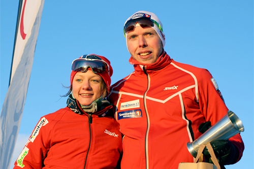 Maiken Caspersen Falla og Tommy Åsen var raskest i Romjulsrennet på Sjusjøen 2011. Foto: Dorte Finstad.