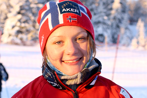 Maiken Caspersen Falla etter sin seier i Romjulsrennet 2011. Foto: Dorte Finstad.