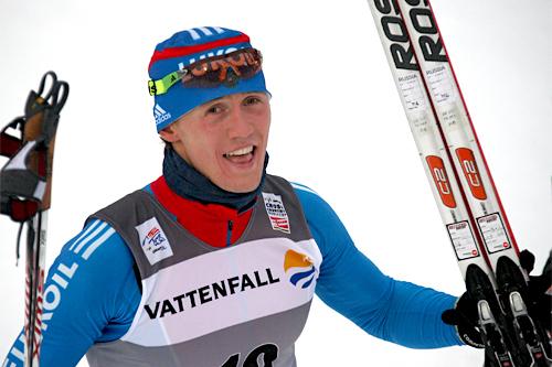 Nikita Kriukov vant sprintetappen i Oberstdorf i forbindelse med Tour de Ski 2011/2012 foran 3 andre russere. Foto: Hemmersbach/NordicFocus.