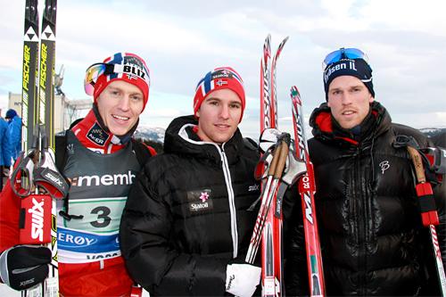 Gutta i Byåsen vant nyttårsaften Strindheimstafetten 2012, her ved deres gullag under NM på Voss forrige sesong. Fra venstre: Petter Eliassen (2. etp.), Didrik Tønseth (1. etp.) og Ole-Marius Bach (3. etp.). Foto: Geir Nilsen/Langrenn.com.