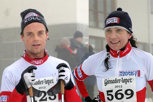 De to raskeste i Grenaderløpet 2012, Erling Christiansen og Kristin Sem Thagaard. Bildet er satt sammen av 2 foto tatt av fotograf Ina Lillegård Marchesan.