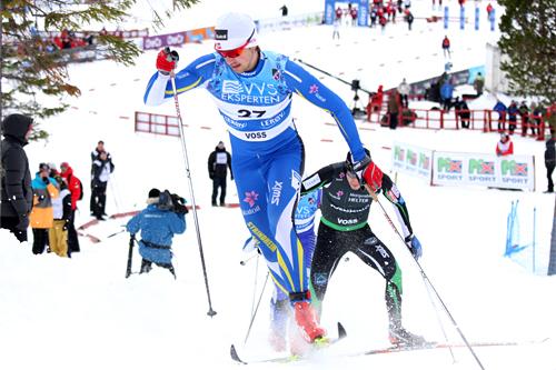 Tomas Northug videreutvikler sprintferdighetene for å komme opp i verdenstoppen. Her er han fremst i bildet på sprinten under NM i Voss 2012. Foto: Geir Nilsen/Langrenn.com.