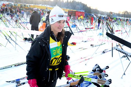 Pippa Middleton før start i Vasaloppet 2012. Foto: Vasaloppet, Nisse Schmidt/www.sportbild.se.