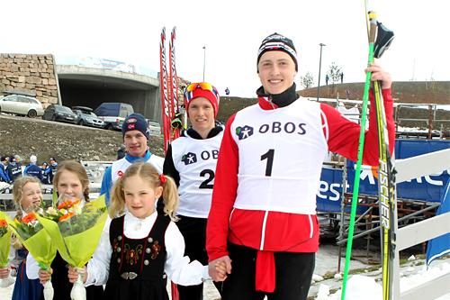 Aksel Rosenvinge (t.h.) og Eirik Sverdrup Augdal (t.v.) gikk de to fristiletappene under stafetten i Nordisk Juniorlandskamp 2013. Med på laget var også Ole Jørgen Bruvoll. Foto: Erik Borg.