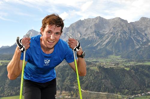 Martin Johansson etter å ha tatt stavgangtesten i Schladming i Østerrike. Foto: Erik Wickström.
