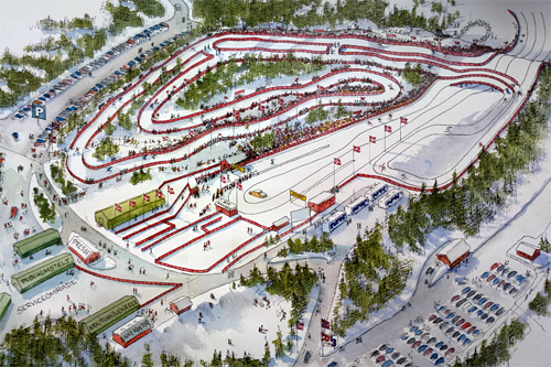 Arenaskisse fra da NM på ski 2013 gikk på Gåsbu. Grafikk: Oddmund Mikkelsen/Hamar Arbeiderblad/NM på ski 2013.
