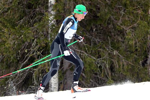 Astrid Uhrenholdt Jacobsen gjorde sine saker i den 10 km lange Beitosprinten i fristil så bra at det ble en god 6. plass. Foto: Erik Borg.