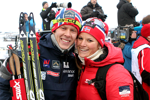 Anders Gløersen og Mari Eide på Beitosprintens første dag 2012. Foto: Erik Borg.