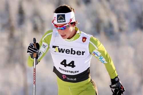 Marit Bjørgen i Beitosprinten sin 10 km klassisk i 2012. Foto: Geir Nilsen/Langrenn.com.