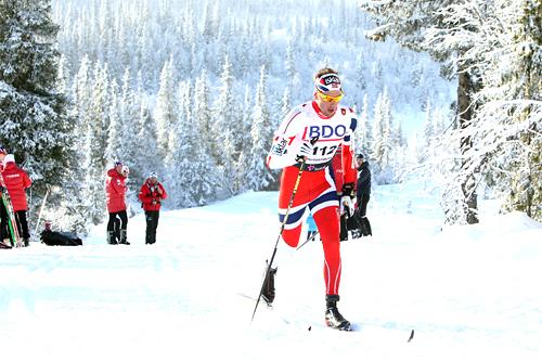 Chris Jespersen på vei mot seier i Beitosprintens 15 km klassisk 2012. Foto: Erik Borg.