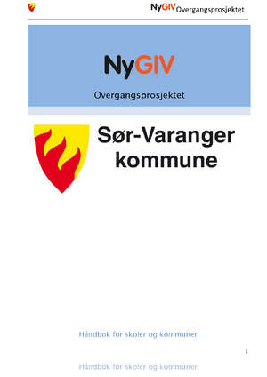 Forsiden fra Håndbok Ny GIV Overgangsprosjektet Finnmark
