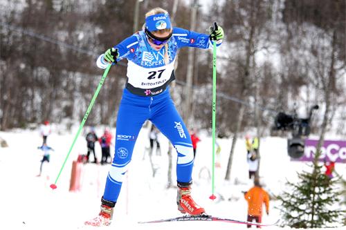 Emilie Kristoffersen har gjort et kvantesprang denne sesongen og er nå klar for U23-VM. Her ser vi hun ute i løypa i den nasjonale sesongåpningens 10 km fri i Beitosprinten 2012. Foto: Geir Nilsen/Langrenn.com.