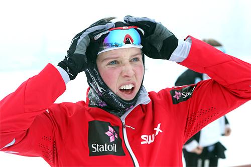 Kari Øyre Slind etter sin oppløftende 3. plass i Skandinavisk Cup på Sjusjøen nylig. I Meldal klatret hun i dag helt til topps. Foto: Erik Borg.
