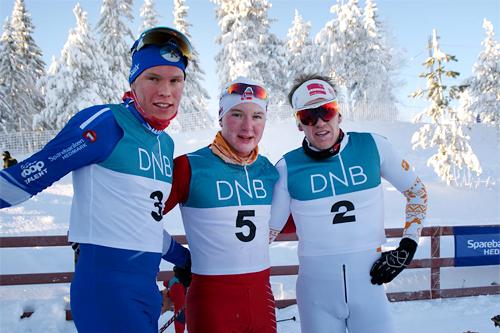 Seierspallen i Gåsburennet, 3. juledag 2012. Fra venstre: Martin Løwstrøm Nyenget (3. plass), Simen Andreas Sveen (2) og Per Kristian Nygård (1). Foto: Stein Arne Negård.