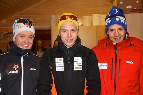 Topp tre i Ribberennet 2012. Fra venstre: Sindre Bjørnestad Skar, Pål Kristian Grue Tufte og Ånund Lid Byggland. Arrangørfoto.