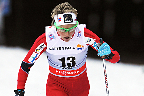 Therese Johaug gikk inn 2.-plass på jaktstarten i Oberhof under andre dag av Tour de Ski 2012/2013. Foto: Felgenhauer/NordicFocus