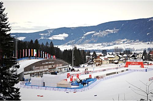 Arenaen i Toblach under Tour de Ski. Foto: Hemmersbach/NordicFoucs.