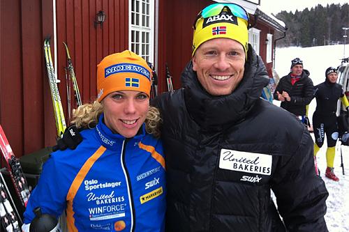 Blide vinnere i det 25 km lange Sørkedalsrennet 2013, Sandra Hansson og Thomas Henriksen. Foto: Harald Fladseth.