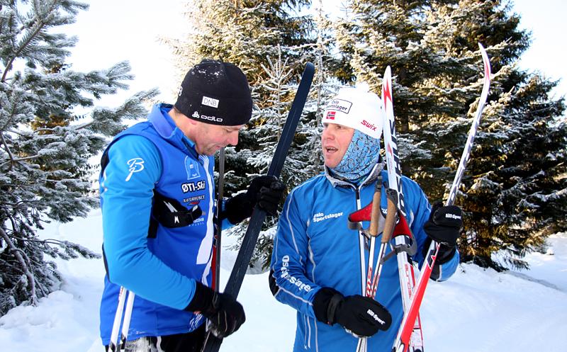 Erling Jevne og Calle Aamodt i Oslo Sportslager på lansering av Madshus RED og REDLINE i januar 2013. Foto: Geir Nilsen/Langrenn.com.