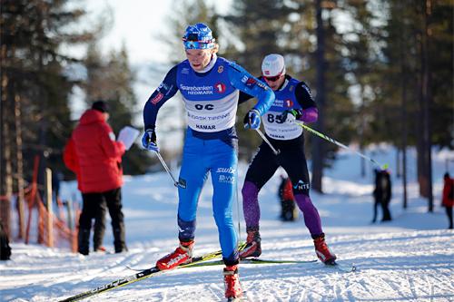 Eirik Brandsdal og Thomas Albertsen Dahlen underveis i norgesmesterskapet på 15 km fristil på Gåsbu 2013. I mål var de nr. 35 og 52. Foto: Rasmus Kongsøre/Langrenn.com.