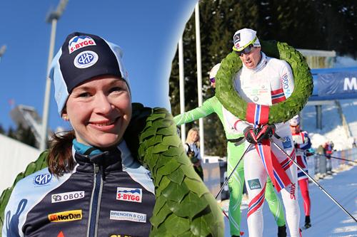 Solfrid Braathen og Eldar Rønning til topps i Holmenkollmarsjen 2013. Foto: Magnus Nyløkken/Skiforeningen. Fotomontasje: Langrenn.com.