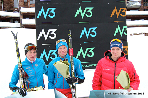 De tre beste løperne i Norefjellrennet 2013. Fra venstre: Morten Aa Djupvik (2.), Espen Harald Bjerke (1.) og Daniel Myrmæl Helgestad (3.). Foto: Arrangør