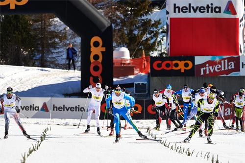 Spurtoppgjør blant herrene etter 42 km fristil i Engadin Skimarathon 2013. Franskmannen  Pierre Guedon tok seieren. Foto: Felgenhauer/NordicFocus.