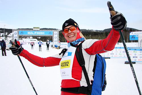 Wenche Røset fikk gleden av å gå Elverum Kommunes 2. lag, Elverums Raskeste, inn til seier i Miks-klassen i StafettBirken 2013. Foto: Geir Nilsen/Langrenn.com.