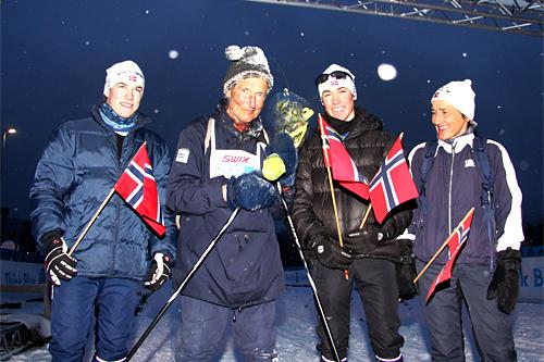Tollef Sverdrup med datter og barnebarn etter å ha gått i mål på Birkebeinerrennet 2013. Tiden ble 10:59:32. Foto: Geir Nilsen/Langrenn.com.