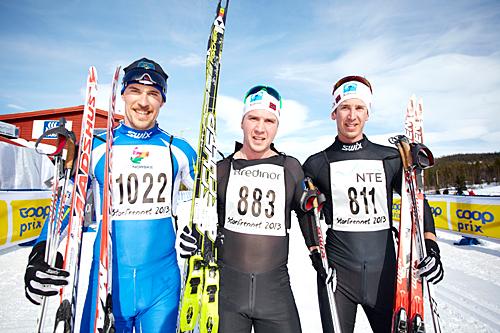 De tre beste i Storlirennet 2013. Fra venstre: Jon Kristian Dahl (2.), Eirik Lorentsen (1.) og Anders Tettli Rennemo (3.). Foto: Dag H. Karlsen