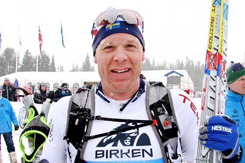 Daniel Tynell etter målgang i Birken 2013 hvor det ble en 20. plass i det 54 km lange rennet. Foto: Geir Nilsen/Langrenn.com.