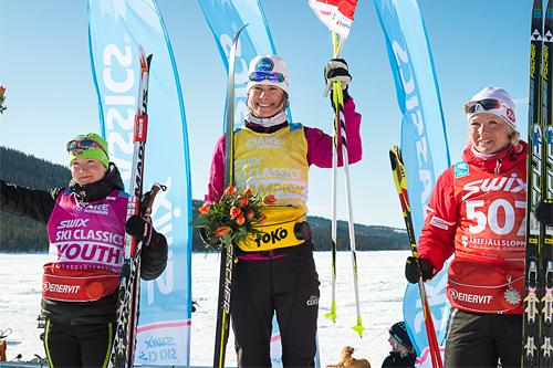 Topp-trioen i Årefjällsloppet, finalen i Swix Ski Classics, 2013. Fra venstre: Laila Kveli (2. plass), Seraina Boner (1) og Riitta Liisa Roponen (3). Foto: Magnus Östh/Swix Ski Classics.