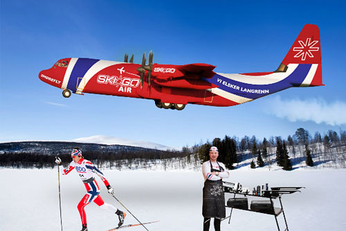 Smøreflyet SKIGO låner ut til Norges Skiforbund inn mot OL i Sotsji 2014. Foto: Geir Nilsen/Langrenn.com.