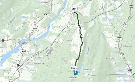 Kartutsnitt over adkomst til Svarttjønna fra Bergsnevet