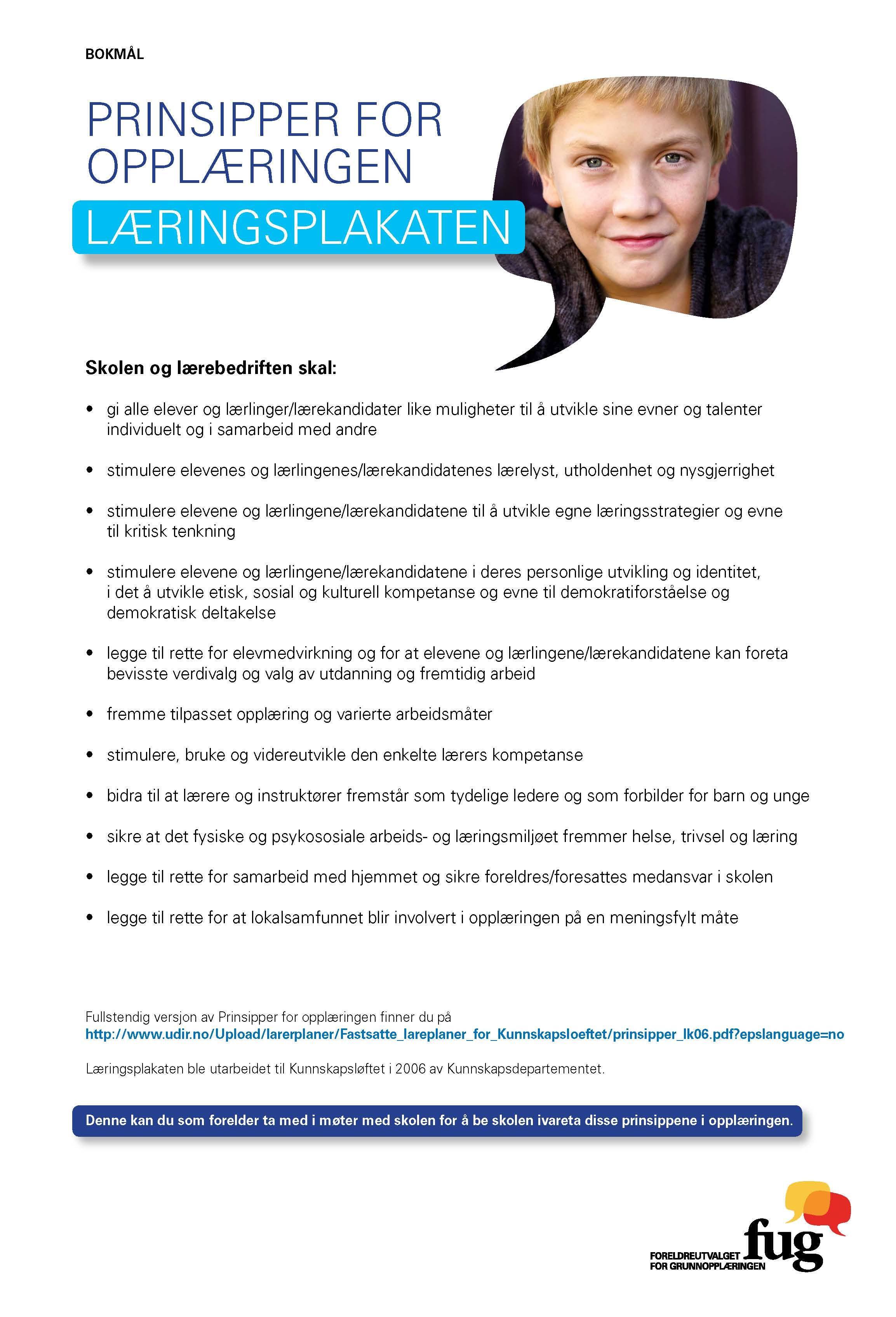 Bilde av Læringsplakaten, Prinsipper for opplæringen, A4 plakat_bokmål (1. utgave 2012)