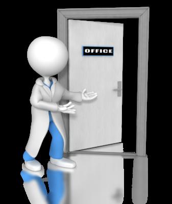 Bilde av en lege som åpner døra