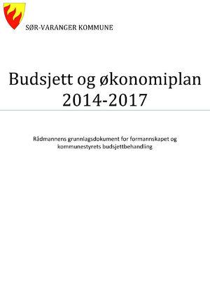 Forsiden fra Rådmannens Budsjettdokument 2014-2017