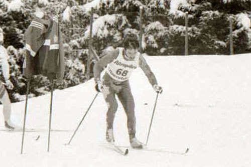 Maurilio De Zolt på femmila i VM i 1987. Faksimile fra boka Femmila Skisportens manndomsprøve.