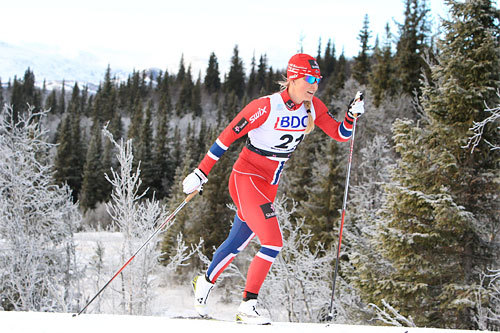 Mari Eide underveis på 10 km klassisk i Beitosprinten 2013. I helgen vant hun i Tjoaminnerennet. Foto: Erik Borg.