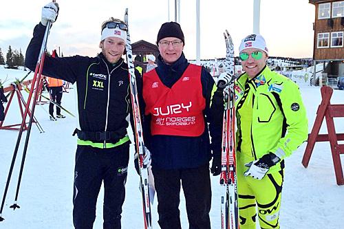 Rennleder Audun Skattebo sammen med Simen Østensen (t.v.) og Tord Asle Gjerdalen som ble henholdsvis nummer en og to i distanserennet på BUL-sprinten 2013. Foto: Arne Sandvold.