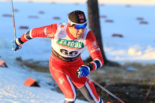 Petter Soleng Skinstad ute i løypa på 15 km fristil i Beitosprinten 2013. Foto: Erik Borg.