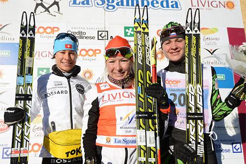 Damenes seierspall i La Sgambeda 2013. Fra venstre: Seraina Boner (2. plass), Riita-Liisa Roponen (1) og Shaidurova Larisa (3).  Foto: Rauschendorfer/NordicFocus.