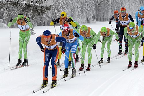 Ivar Tveiten ligger helt i front av hele feltet under Marcialonga 2013. Foto: Rauschendorfer/NordicFocus.