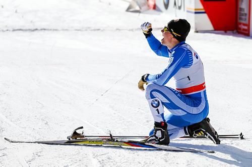 Martti Jylhä stormet inn til 2. plass, kun slått av Anders Nøstdahl Gløersen, på sprintfinalen i verdenscupen i Davos i desember 2013. Foto: Laiho/NordicFocus.
