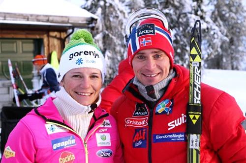 Vinnerne i Romjulsrennet Sjusjøen 2013, Katja Visnar og Ola Vigen Hattestad. Foto: Lars Erik Almo.