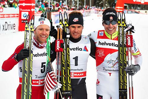 Topp tre på sprinten i Lenzerheide under Tour de Ski 2013/2014. Martin Johnsrud Sundby (3.), Simeon Hamilton (1.) og Alex Harvey (2.). Foto: Felgenhauer/NordicFocus.