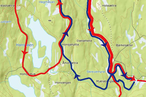 Utsnitt av løypekart for Hodelyktrennet på Nordåsen i Nannestad.
